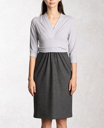 ペールブルーxグレー 七分袖シェルドレス