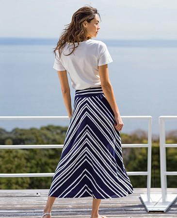 海と風ボーダー フレアロングスカート