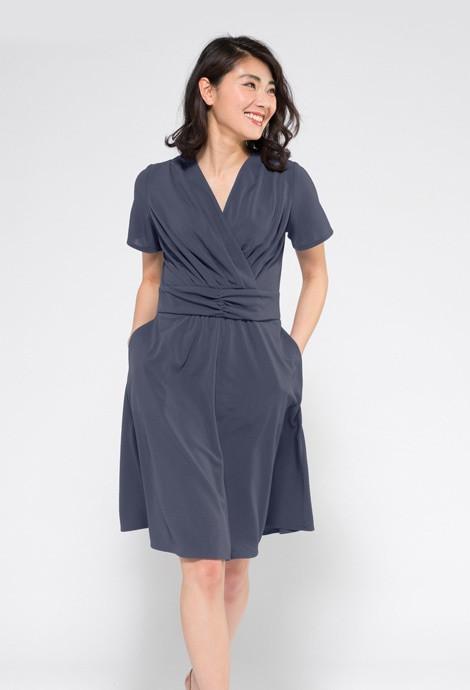 ブルーグレー半袖 マリリンドレス