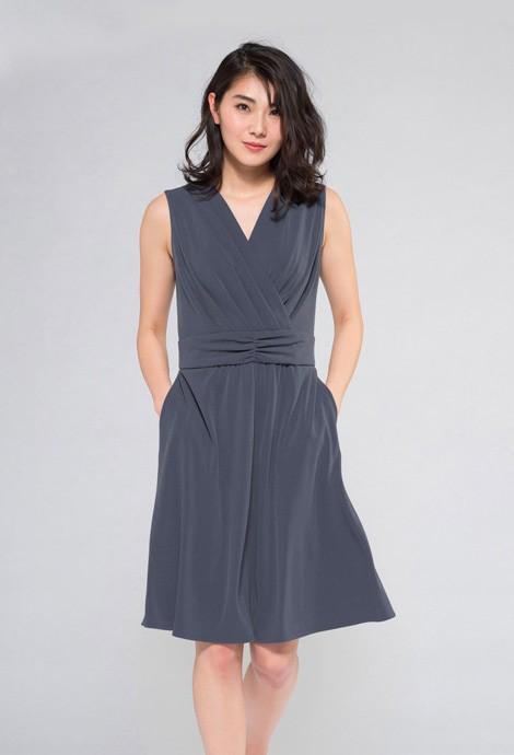 ブルーグレー袖なし マリリンドレス